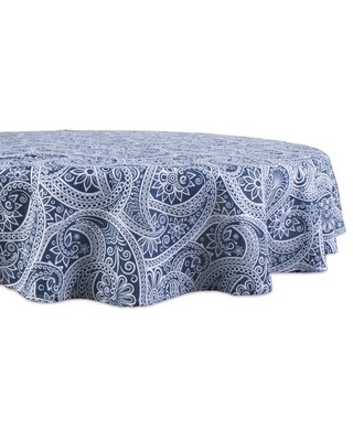 DII Blue Paisley Print Outdoor Tablecloth 60 Round