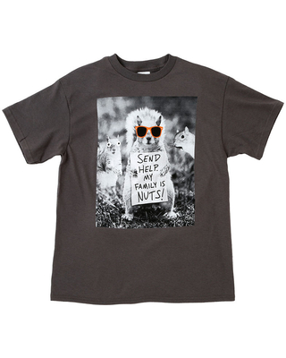 """""""Send Help. My Family Is Nuts!"""" Little & Big Boys Crew Neck Short Sleeve Graphic T-Shirt, Xx-small (4-5) , Black"""