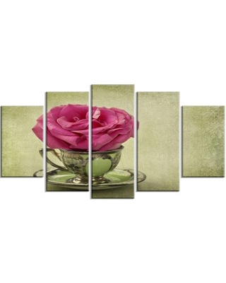 'Red Rose in Cup and Saucer' 5 Piece Wall Art on Wrapped Canvas Set Design Art