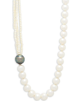 14K White Gold Tahitian Black & Cultured Pearl Necklace