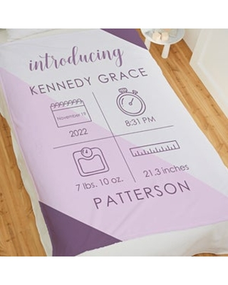 Introducing Baby Personalized 50x60 Plush Fleece Birth Stats Baby Blanket