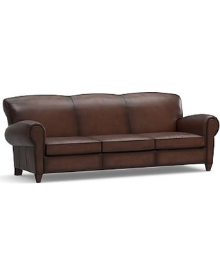 "Manhattan Leather Grand Sofa 96.5"", Polyester Wrapped Cushions, Burnished Walnut"