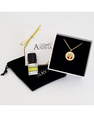 Anavia Aromatherapy Starter Kit Tree of Life Gift for Her Essential Oil Diffuser Rhinestone Necklace & Organic Gift for Wife Fiancee Birthday Jewelry Gift Set - Gold Necklace & Lemongrass Oil