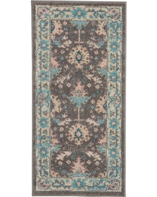 Nourison Tranquil TRA10 Pink and Grey 2 ft. x 7 ft. Hallway Runner Rug, Grey/Pink