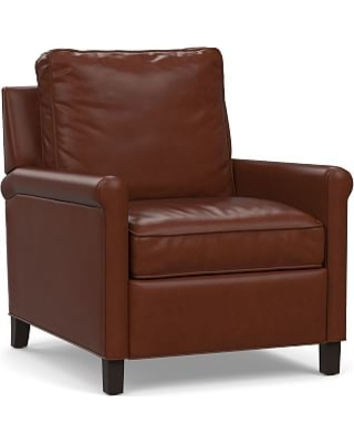 Tyler Roll Arm Leather Recliner without Nailheads, Down Blend Wrapped Cushions, Signature Whiskey