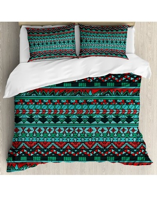 Tribal Hand Drawn Ethnic Aztec Design Geometric Pattern with Sharp Shapes and Stripes Duvet Cover Set East Urban Home Size: King