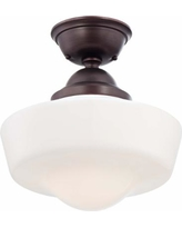 "Schoolhouse Style 13 3/4"" Wide Brushed Bronze Ceiling Light"