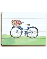 """August Grove 'Spring Bicycle' Wall Art Plaque AGGR6204 Size: 14"""" H x 20"""" W"""