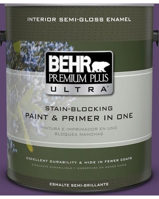 BEHR Premium Plus Ultra 1 gal. #S-G-660 Wild Grapes Semi-Gloss Enamel Interior Paint and Primer in One