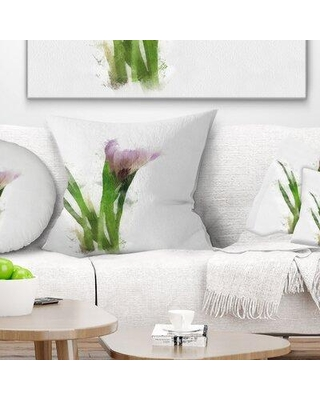 """East Urban Home Floral Watercolor Flower Sketch Pillow VCBN7203 Size: 16"""" x 16"""" Product Type: Throw Pillow"""