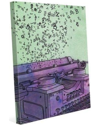 """Click Wall Art 'Purple Typewriter Flying Letters' Painting Print on Wrapped Canvas COM0000041CAN08X10SXX Size: 30"""" H x 20"""" W x 0.75"""" D"""