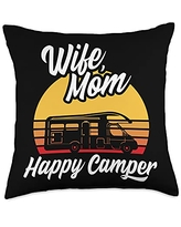 Funny Camping Sayings & Designs Wife Mom Happy RV Camping Holiday Camper Throw Pillow, 18x18, Multicolor