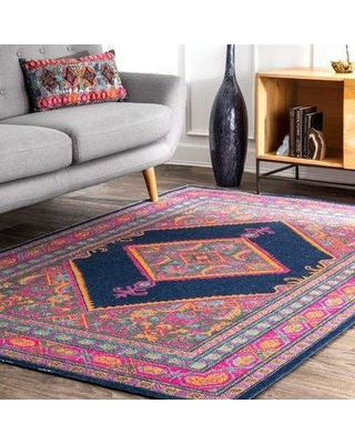 Bungalow Rose Alvord Navy Area Rug BGRS4025 Rug Size: Rectangle 4' x 6'