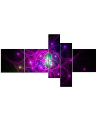 East Urban Home 'Pink Fractal Space Circles' Graphic Art Print Multi-Piece Image on Canvas EABO1727