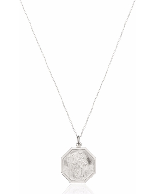 Lily & Roo - Sterling Silver St Christopher Medallion Necklace