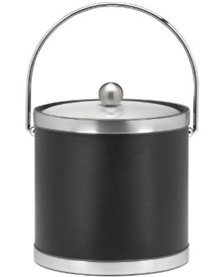 Kraftware Sophisticates Brushed Chrome Ice Bucket with Bale Handle and Metal Cover, Black - 3 Quart