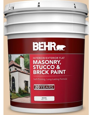 BEHR 5 gal. #BXC-64 Shortbread Cookie Flat Interior/Exterior Masonry, Stucco and Brick Paint