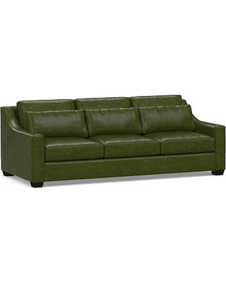 c7005aafadd York Deep Seat Slope Arm Leather Grand Sofa 95