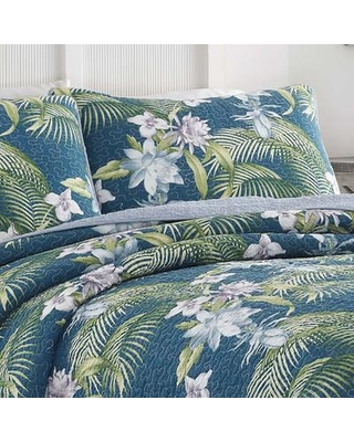 Tommy Bahama Home Southern Breeze Reversible Quilt Set by Tommy Bahama Bedding, Polyester/Polyfill/100% Cotton in Purple/Blue/Green, Size Full/Queen