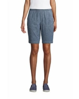 """Women's Mid Rise Elastic Waist Pull On 10"""" Chino Bermuda Shorts - Lands' End - Blue - 8"""