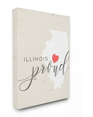 The Stupell Home Decor Collection Illinois Proud with Heart XXL Stretched Canvas Wall Art