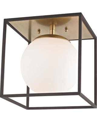Mitzi by Hudson Valley Lighting Aira 1-Light Aged Brass and Black Small Flush Mount with Opal Etched Glass and Black Accents