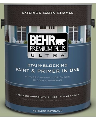 BEHR Premium Plus Ultra 1 gal. #PPU10-06 Spring Walk Satin Enamel Exterior Paint and Primer in One