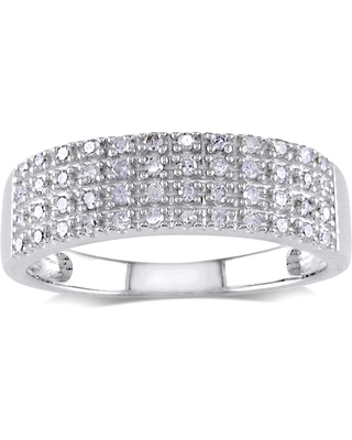Miadora Sterling Silver 1/4ct TDW Pave Diamond Ring (Size 4)