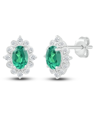 Jared The Galleria Of Jewelry Lab-Created Emerald & Lab Created Sapphire Earrings Sterling Silver