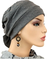 Hats for You Women's Chemo Cap with Removable Bow, Charcoal, One Size