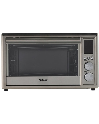 Galanz 1.1 cu. ft. 1800-Watt 6-Slice Stainless Steel Toaster Oven with Convection, Air Fryer and Rotisserie, Silver