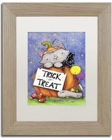 "Trademark Art 'Trick or Treat Kitty' by Jennifer Nilsson Framed Graphic Art ALI3154-T1114BMF / ALI3154-T1620BMF Size: 14"" H x 11"" W x 0.5"" D, Matte Color: White"