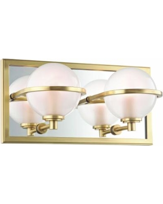 """Hudson Valley Axiom 6"""" High Aged Brass 2-LED Wall Sconce"""