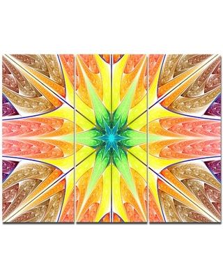 'Yellow Glowing Fractal Texture' Graphic Art Print Multi-Piece Image on Canvas