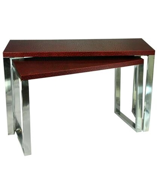 BM206809 Rectangular Wood and Metal Console Tables Red and Silver Set of
