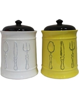 August Grove Ceramic 2 Piece Kitchen Canister Set AGTG5854