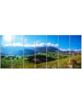 Design Art 'Mountain Landscape Panorama' 7 Piece Photographic Print on Wrapped Canvas Set, Canvas & Fabric in Brown/Green | Wayfair PT14869-732