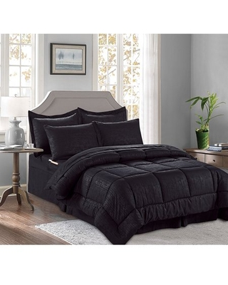 8 Pieces Bed in a Bag Bamboo Pattern Comforter Set Full/Queen, Black