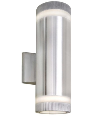 Maxim Lighting Lightray Small 2-Light Brushed Aluminum Integrated LED Outdoor Wall Mount Sconce