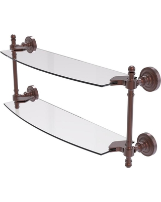 Allied Brass Retro Dot Collection 18 in. 2-Tiered Glass Shelf in Antique Copper