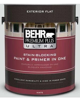 BEHR Premium Plus Ultra 1 gal. #N500-1 Shiny Luster Flat Exterior Paint and Primer in One