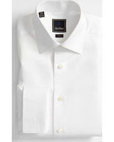 Men's David Donahue Trim Fit Twill French Cuff Tuxedo Shirt, Size 17 34/35 - White
