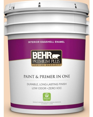 BEHR Premium Plus 5 gal. #PPU4-11 Porcelain Peach Eggshell Enamel Low Odor Interior Paint and Primer in One