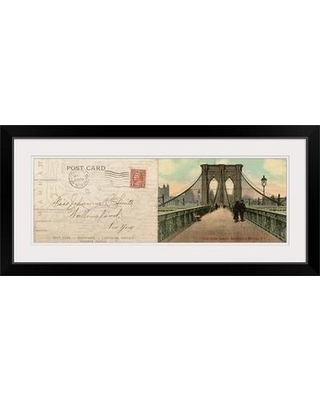 """Great Big Canvas 'Greetings from New York' Graphic Art Print 1052765_1 Size: 20"""" H x 44"""" W x 1"""" D Format: Black Framed"""
