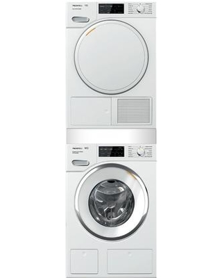 """Front Load Smart WWH860WCS 24"""" Washer with TWF160WP 24"""" Electric Dryer and WTV512 Stacking Kit (with Drawer) Laundry Pair in Lotus"""