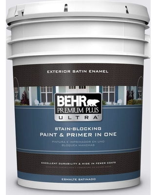 BEHR Premium Plus Ultra 5 gal. #PPU16-06 Lilac Mist Satin Enamel Exterior Paint and Primer in One