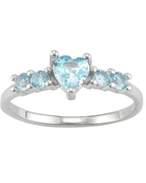 Junior Jewels Kids' Sterling Silver Birthstone Heart Ring, Girl's, Size: 3, Blue
