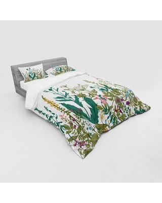 Flower Flowers and Leaves In A Spring Garden with Daisies Roses Hydrangeas Duvet Cover Set East Urban Home Size: Queen Duvet Cover + 3 Additional Piec