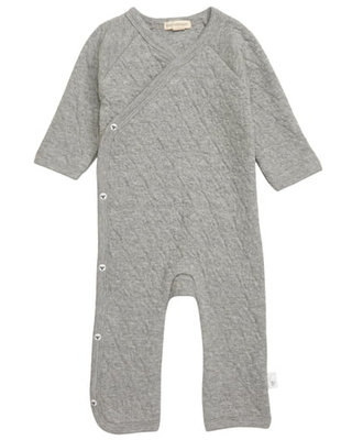 Infant Burt's Bees Baby Quilted Organic Cotton Romper, Size 3-6M - Grey
