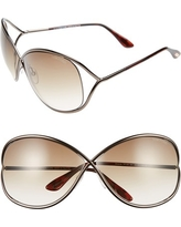 Women's Tom Ford Miranda 68Mm Open Temple Oversize Metal Sunglasses - Bronze